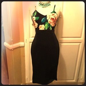 """Pencil floral Dress stretchy """"AX"""" Size 12"""
